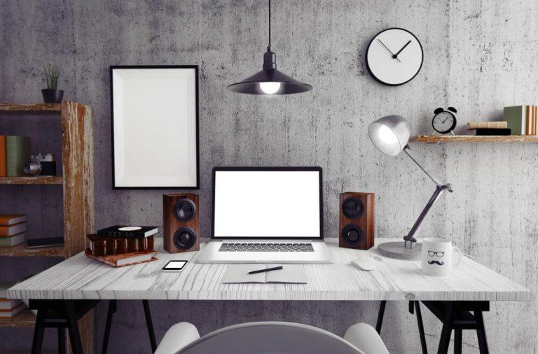 ergonomic workspace with adjustable desk