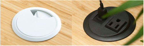 grommet holes available for a Jarvis Standing Desk