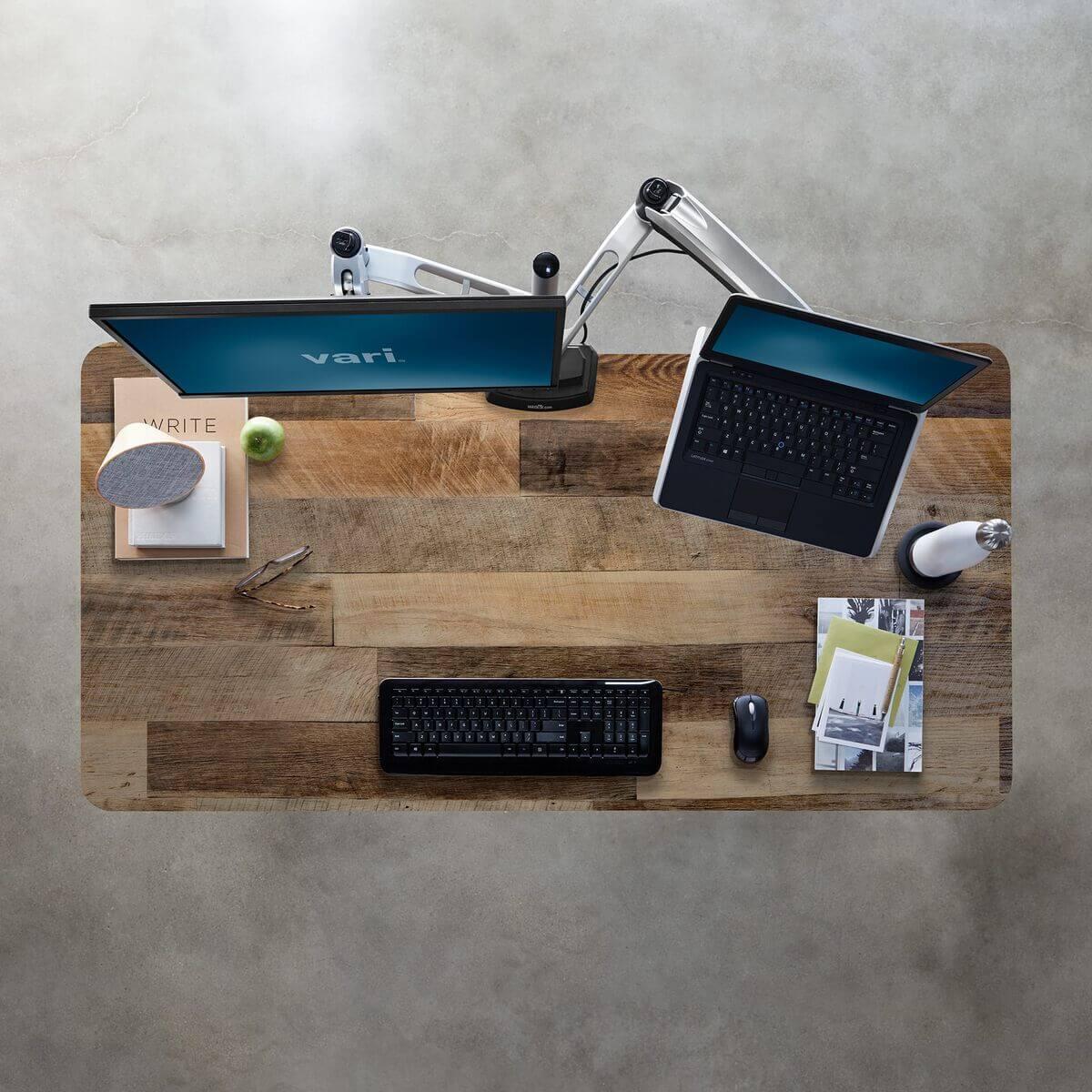 Vari Electric Standing Desk Reclaimed Wood Tabletop
