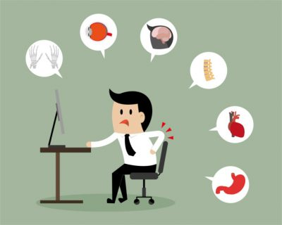 Businessman and office syndrome infographic
