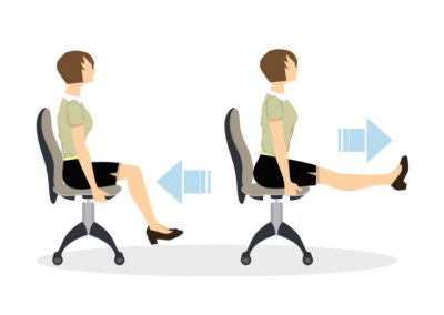 Sport exercises for office. Office yoga for tired employees with chair and table.