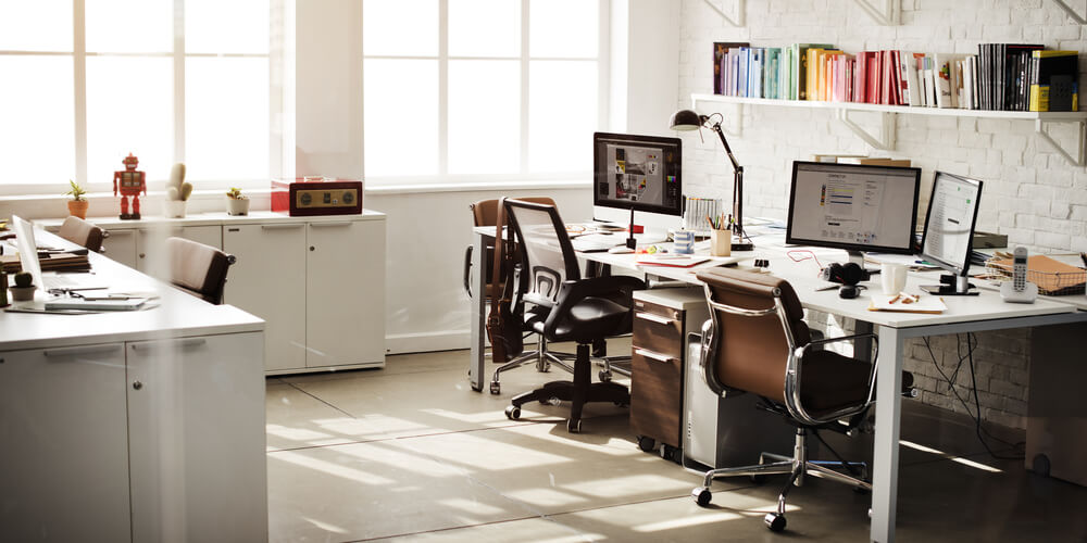 Modern Ergonomic Workplace with Adjustable Office Chairs