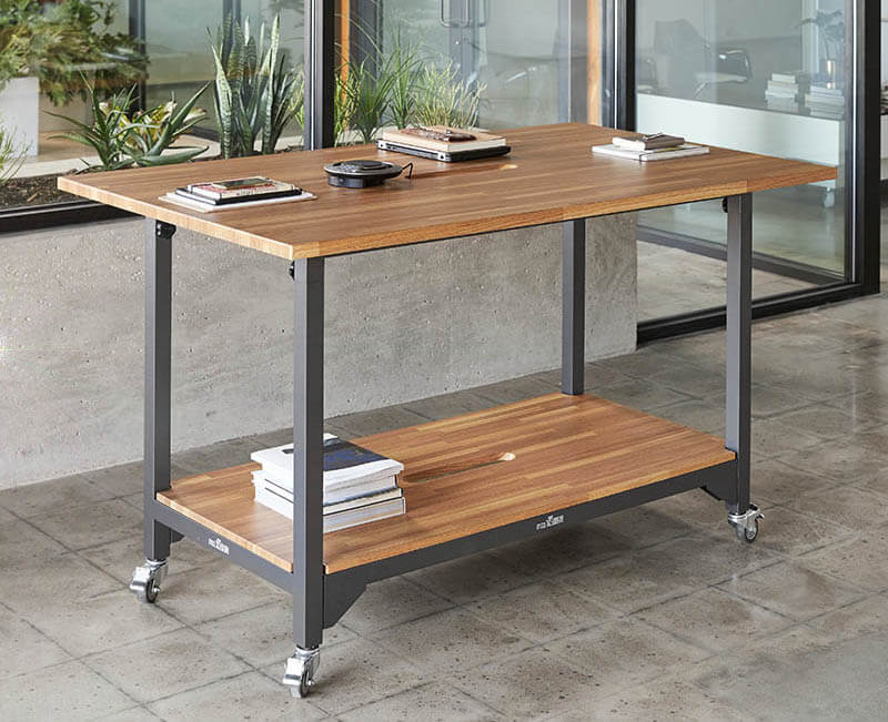 Varidesk quickpro conference table butcher block